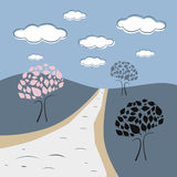 Abstract Vector Nature Scene. With Trees, Road, Hills, Clouds Royalty Free Stock Images