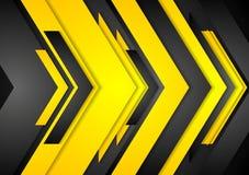 Abstract vector orange black tech arrows background Stock Image