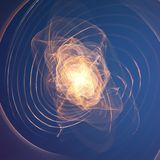 Abstract vector orange explosion mesh on blue background. Futuristic technology style. Stock Images
