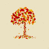 Abstract Vector Orange Tree. Abstract Vector Tree on Recycled Paper Background Royalty Free Stock Images