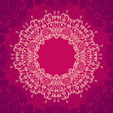 Abstract vector ornamental round mandala frame on the pink backg Stock Images