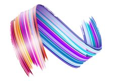 Abstract Vector Paint Brush Stroke. Colorful Curl. Abstract Vector Paint Brush Stroke. Colorful Curl of Liquid Paint. Digital 3D Ribbon with Brush Texture Royalty Free Stock Photos