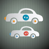 Abstract Vector Paper Cars with Buttons Royalty Free Stock Image