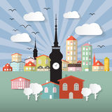 Abstract Vector Paper Cut Flat Design Town or City. Illustration with Tower and Retro Background Royalty Free Stock Images