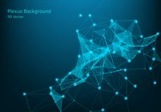 Abstract vector particles and lines. Plexus effect. Futuristic illustration. Polygonal Cyber Structure. Data Connection Concept. Plexus geometric effect Big royalty free illustration