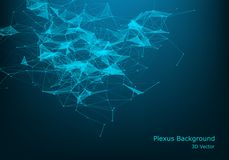 Abstract vector particles and lines. Plexus effect. Futuristic illustration. Polygonal Cyber Structure. Data Connection Concept. Polygonal Cyber Structure stock illustration