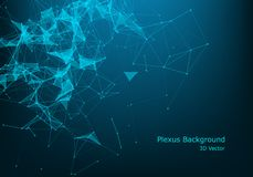 Abstract vector particles and lines. Plexus effect. Futuristic illustration. Polygonal Cyber Structure. Data Connection Concept. Background Polygonal Cyber royalty free illustration