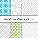 Abstract vector pattern set with geometrical figures. Seamless pattern set for wallpaper, textile, wrapping paper, web. Seamless pattern set for wallpaper Stock Illustration