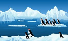 Abstract vector penguins on frozen snow, background, wallpaper. Many uses for advertising, book page, paintings, printing, mobile backgrounds, book, covers stock illustration