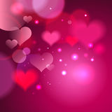 Abstract vector pink backdrop with hearts and bokeh lights, suitable for Valentine`s day or other Stock Images