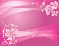 Abstract vector pink background with flower stock illustration