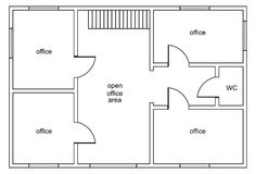 Abstract vector plan of office building. With four offices, open office area, stair and WC vector illustration