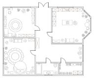 Abstract vector plan of one-bedroom apartment. With kitchen, bathroom, bedroom, living room, dining room, library. EPS8 royalty free illustration