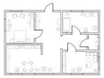 Abstract vector plan of one-bedroom apartment Stock Images