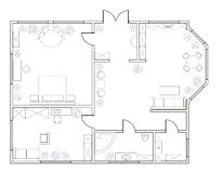 Abstract vector plan of one-bedroom apartment Royalty Free Stock Images