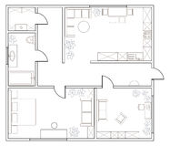 Abstract vector plan of one-bedroom apartment Stock Image