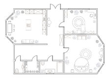 Abstract vector plan of one-bedroom apartment Stock Photography