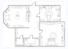 Abstract vector plan of one-bedroom apartment Stock Photos