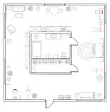Abstract vector plan of one-bedroom studio apartment Stock Images
