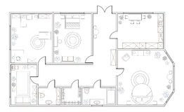 Abstract vector plan of three-bedroom apartment. With kitchen, bathroom, children`s room, bedroom, living room, dining room, library. EPS8 stock illustration