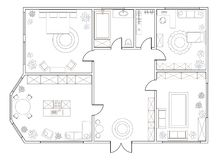 Abstract vector plan of two-bedroom apartment. With kitchen, bathroom, bedroom, living room, dining room, library. EPS8 stock illustration