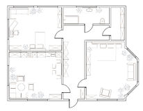 Abstract vector plan of two-bedroom apartment Royalty Free Stock Image