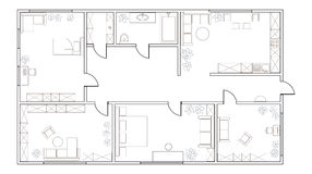 Abstract vector plan of two-bedroom apartment Stock Photos