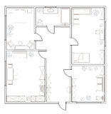 Abstract vector plan of two-bedroom apartment Royalty Free Stock Photo