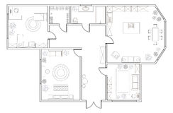 Abstract vector plan of two-bedroom apartment. With kitchen, bathroom, children`s room, bedroom, living room, dining room, library stock illustration