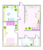 Abstract vector plan of two-bedroom apartment Stock Photo
