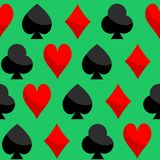 Playing Card Seamless Pattern Vector of Hearts Diamonds Clubs Spades. Abstract vector of playing cards texture for home decoration and clothing on green stock illustration
