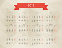 Abstract vector polygonal calendar. Abstract vector 2015 year polygonal calendar stock illustration