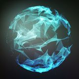 Abstract vector polygonal cyber sphere. Triangle spherical mesh background. Futuristic 3D illuminated distorted sphere of glowing particles and polygons Stock Photo