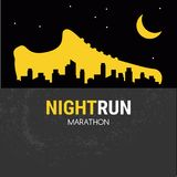Abstract vector poster - running, sport shoe and the city outline. night run marathon. Vector poster - running, sport shoe and the city outline. vector royalty free illustration
