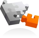 Abstract vector puzzle piece logo / icon - 6 Royalty Free Stock Image