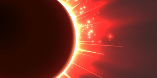 Abstract vector red background with planet and eclipse of its star. Bright star light shine from the edges of a planet. Stock Images