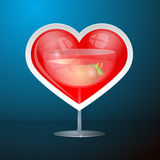 Abstract Vector Red Heart and Drink Glass. With Strawberry Illustration on Blue Background Stock Photos