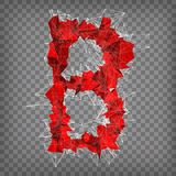 Abstract vector red modern triangular emblem of B on a chequered. Background Stock Images