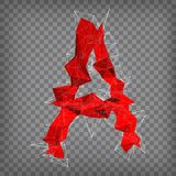 Abstract vector red modern triangular emblem of A on a chequered. Background Stock Photography