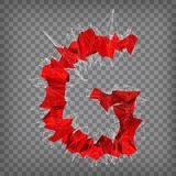 Abstract vector red modern triangular emblem of G on a chequered. Background Stock Photos