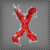 Abstract vector red modern triangular emblem of type X on a cheq. Uered background Stock Photo