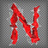 Abstract vector red modern triangular emblem of type N on a cheq. Uered background Stock Photography