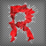 Abstract vector red modern triangular emblem of type R on a cheq. Uered background Royalty Free Stock Images