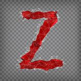 Abstract vector red modern triangular emblem of type Z on a cheq. Uered background Royalty Free Stock Photos