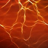 Abstract vector red wave mesh background. Point cloud array. Chaotic light waves. Technological cyberspace background. Stock Photo