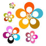 Abstract Vector Retro Flowers Set Royalty Free Stock Image