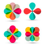 Abstract Vector Retro Flowers Symbols Set. Illustration Isolated on White Background Stock Photo
