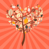 Abstract Vector Retro Heart Shaped Tree Royalty Free Stock Image