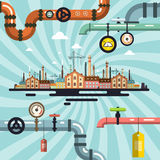 Abstract Vector Retro Old Factory Royalty Free Stock Image