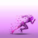 Abstract vector runner. Geometric silhouette Royalty Free Stock Photo